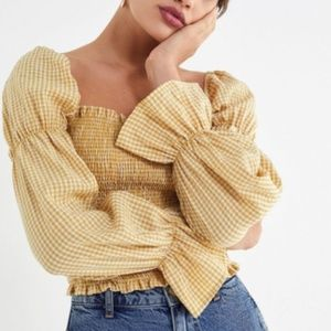 UO Yellow Gingham Smocked Cinched-Sleeve Blouse
